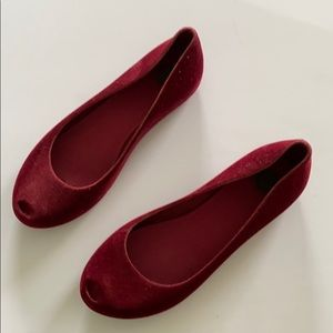 Flocked Red Melissa peeptoe Jelly Shoes
